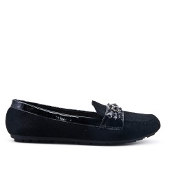 Black moccasin in faux suede with rhinestone straps