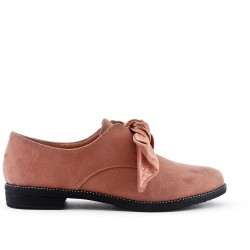 Pink derby in faux suede with bow