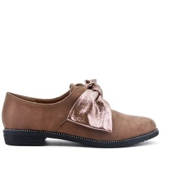 Khaki derby in faux suede with bow