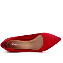 Red suede faux pump with rhinestones in the heel