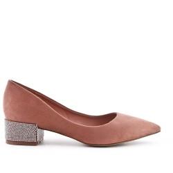 Pink suede faux pump with rhinestones in heel
