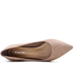 Escarpin kaki en simili daim orné de strass au talon