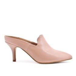 Beige leatherette slipper with heel