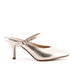 Golden slate imitation leather with heel