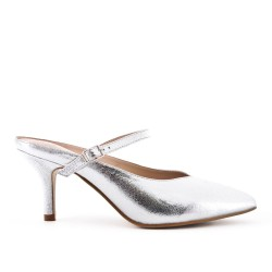 Silver slat in imitation leather with heel