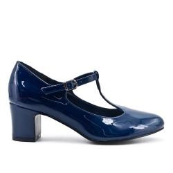Blue pumps in heel