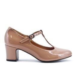 Beige patent pump with heel