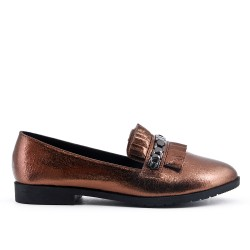 Brilliant tan moccasin with bangs