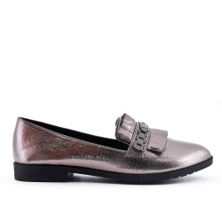 Gray shiny moccasin with bangs