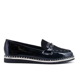 Flocked black loafer