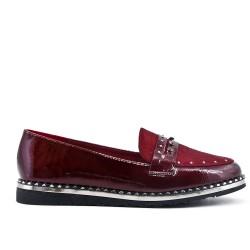 Flocked red loafer