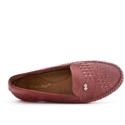 Pink comfort moccasin in faux suede