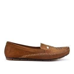 Camel comfort moccasin in faux suede