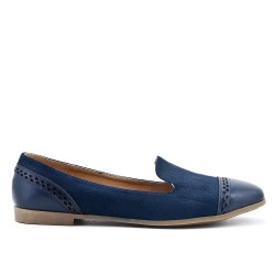 Blue comfort moccasin in faux leather