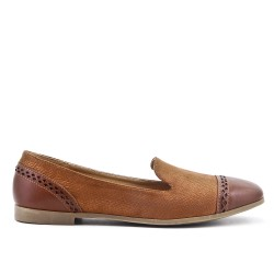 Brown comfort moccasin in faux leather
