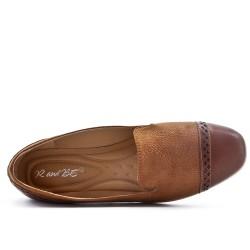 Mocassin confort marron en simili cuir