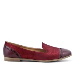 Red comfort moccasin in faux leather