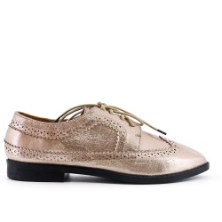 Golden Derby in glossy faux leather with lace
