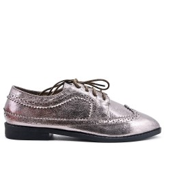 Gray Derby in glossy faux leather with lace