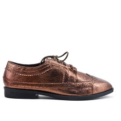 Bronzed derby in glossy faux leather with lace