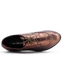 Derby bronzé en simili cuir brillant à lacet