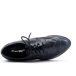 Black Derby in glossy faux leather with lace