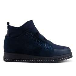 Blue ankle boot with rhinestones