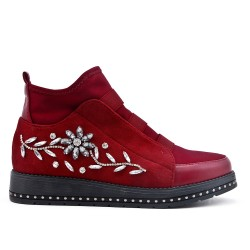 Red boots with rhinestones