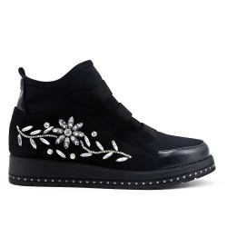 Black ankle boot with rhinestones