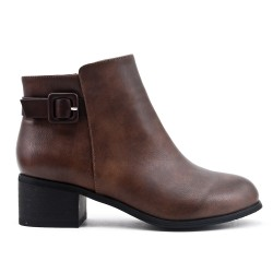 Khaki faux leather ankle boot with flange