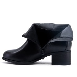 Black imitation leather ankle boot with square heel