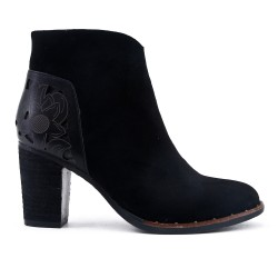 Black ankle boot with wood heel