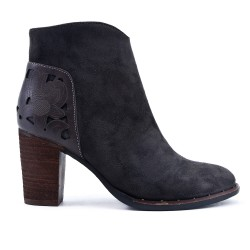 Gray ankle boot with wood heel
