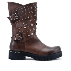 Khaki leatherette boot with studs