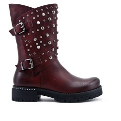 Red leatherette boot with studs