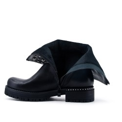 Black imitation leather boot with studs