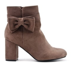Khaki suede ankle boot with bow