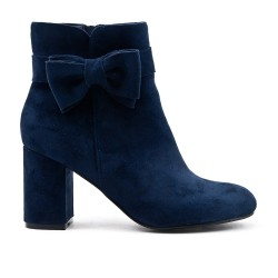 Blue suede ankle boot with bow