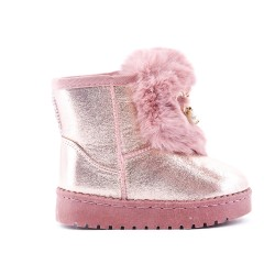 Pink stuffed girl boot with jewelery