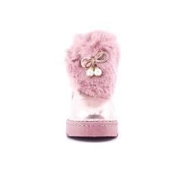 Botte fille fourrée rose avec bijoux