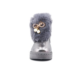 Gray stuffed girl boot with jewels