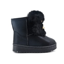 Black stuffed girl boot with jewels
