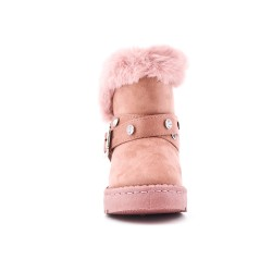 Pink flannel girl boot with rhinestones