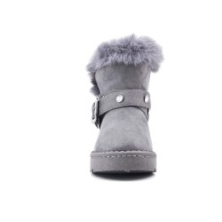 Gray flannel girl boot with rhinestones