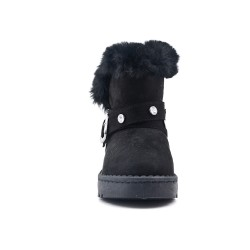 Black girl boot with flange adorned with rhinestones