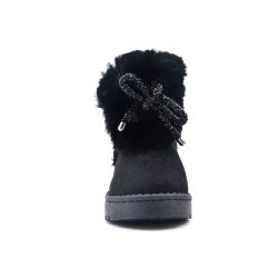 Black stuffed girl boot with bow