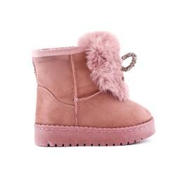 Botas de niña de peluche rosa con lazo