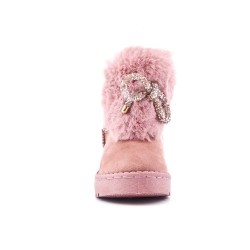 Pink stuffed girl boot with bow