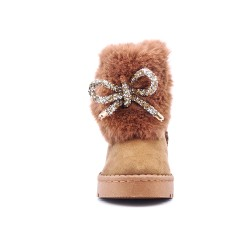 Camel-stuffed girl boot with bow