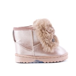 Furry girl boot with champagne bow